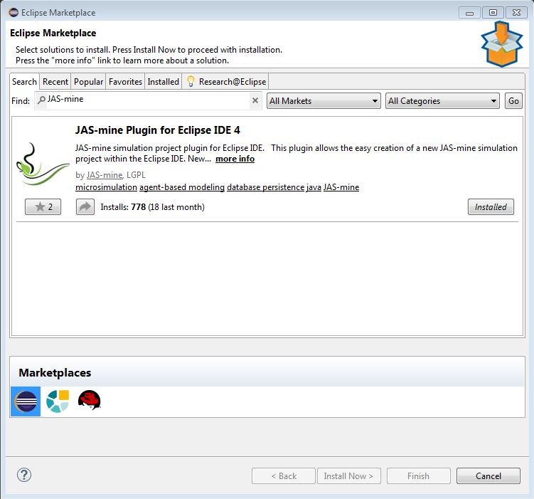 Eclipse marketplace JAS-mine plugin